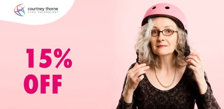 lady-with-helmet-on-pink-background-words-read-15-percent-off-courtney-thorne